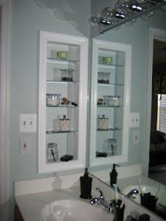 Stud Medicine Cabinet Between A 36 Inch Vanity And I Bathroom Counter Storagebathroom Recessed Shelvesin Wall