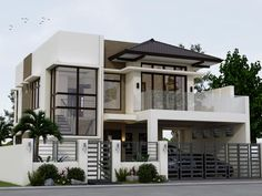 Valerio Residence: Detached home by Angeles Designs , Asian Reinforced concrete Zen House Design, 3 Storey House Design, Two Story House Design, Bungalow House Design, House Front Design, Minimalist House Design, Two Storey House, Modern Exterior House Designs, Modern Architecture House