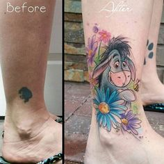 'Winnie the Pooh' tattoo by Gina Fote. watercolor sketch eeyore donkey winniethepooh pooh poohbear nostalgia children tvshow cartoon book GinaFote
