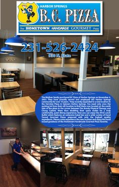 B. C. Pizza, Harbor Springs, Michigan | Used solid wood table tops, clear coat Gladiator chairs, and Amish-built restaurant booths!