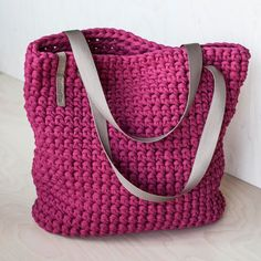 Crimson Crochet Tote Bag