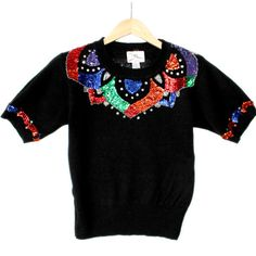 Vintage 90s Short Sleeve Tacky Ugly Gem Sweater