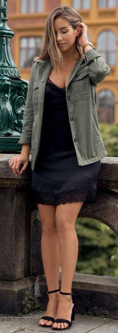 Emilie Tømmerberg + slip dress + fabulous little black number + jacket + ideal for Autumn parties. No brands specified.