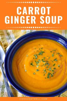 This easy carrot ginger soup is perfect for lunch or a light dinner. In this recipe, carrots, ginger and turmeric combine to make a delicious soup. Puree Soup Recipes, Healthy Soup Recipes, Cooking Recipes, Vegetable Puree Soup, Creamy Vegetable Soups, Veggie Soup, Spiced Pumpkin Soup, Pumpkin Recipes, Easy Carrot Recipes