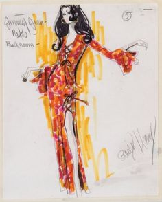 Edith Head sketch for Elizabeth Taylor in Hammersmith is Out (1972)