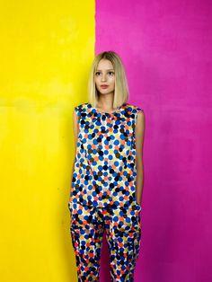 Kasha top and Linie trousers / Marimekko S/S 14 Her Style, Cool Style, Marimekko, Kaftan, Color Combinations, Spring Summer Fashion, Fashion Photography, Casual, Creations