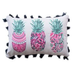 Pineapple Tassel Trim Throw Pillow