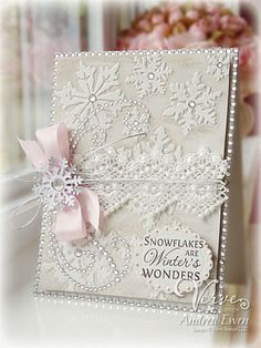 shabby chic card from EwenStyle: Snowflakes Are Winter's Wonders ... ribbons and lace ... pearls and jewels ... snowflake embossed all over too ...