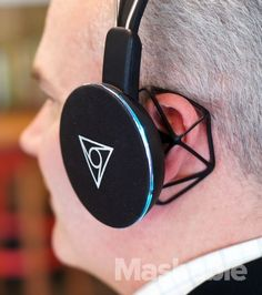 The Shair headphones feature a 3D printed open cage design to protect your ears