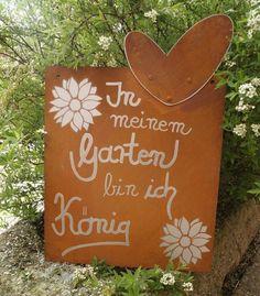 Edelrost Tafel König Spruch Garten Metall Tafel Rost Schild Text Blume Deko in Garten & Terrasse, Dekoration, Gartenfiguren & -skulpturen | eBay