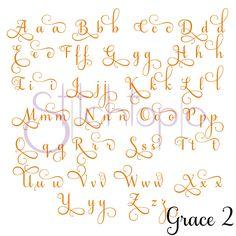 Grace Embroidery Font Bundle by Stitchtopia Calligraphy Fonts Alphabet, Cursive Alphabet, Tattoo Lettering Fonts, Hand Lettering Alphabet, Handwriting Fonts, Monogram Alphabet, Wedding Calligraphy, Monogram Fonts, Modern Calligraphy