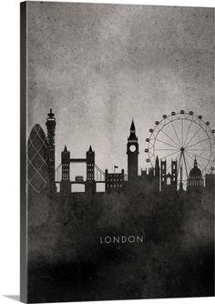 Circle Art Group Premium Thick-Wrap Canvas Wall Art Print entitled Black and White Minimalist London Skyline, None