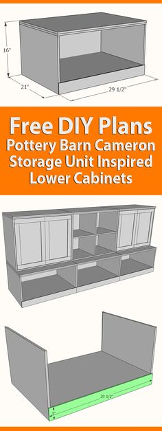 Pottery Barn Cameron Storage Unit inspired DIY plans for flexible and functional storage in your kids play room Kids Storage Furniture, Playroom Storage, Diy Storage, Diy Furniture, Storage Units, Pottery Barn Playroom, Pottery Barn Bedrooms, Pottery Barn Kids, Vinyl Record Storage
