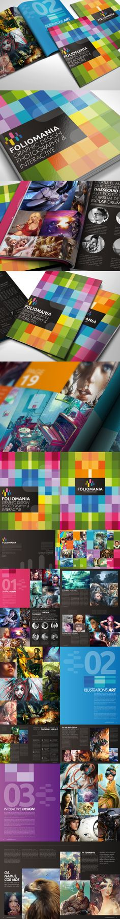 Foliomania is a portfolio brochure designed for designers. I chose a series of vibrant colors as an approach which symbolise my style of design. Web Design, Book Design, Cover Design, Layout Design, Creative Design, Print Design, Brochure Layout, Brochure Design, Editorial Layout