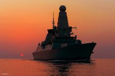 HMS Dragon at Sunset