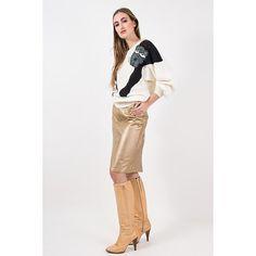 Vintage gold leather pencil skirt / 1980s metallic butter soft leather / High waist knee length skirt / M