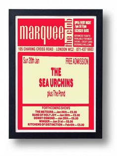 The Sea Urchins Framed Gig Poster Print by indieprints on Etsy, $20.00