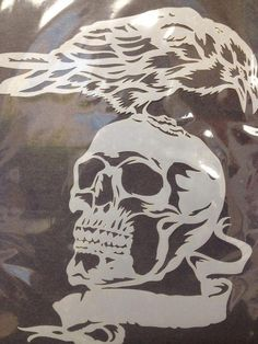 Skull With Bird Raven And Scroll Banner - PVC/Mylar Stencils - Airbrush Stencils - shop Skull Stencil, Stencil Art, Skull Art, Stenciling, Scroll Saw Patterns Free, Scroll Pattern, Pattern Art, Free Pattern, Wood Carving Patterns
