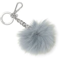 Michael Michael Kors Fur Pom Pom Bag Charm (1,440 THB) ❤ liked on Polyvore featuring accessories, dusty blue, michael michael kors, fur pom pom key chain, pom pom key chain and fur key chain