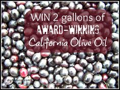 Wouldn't you like to win 2 gallons of California Olive Oil?  Enter the giveaway!
