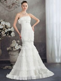 Trumpet/Mermaid Strapless Lace Sweep Train Tiered Wedding Dresses