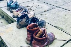 Muddy walking boots after a great day out on one of our weekend escapes to the Peak District