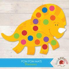 Dinosaur Pom Pom Mats great for fine motor skills Dinosaur Theme Preschool, Dinosaur Printables, Dinosaur Activities, Dinosaur Crafts, Dinosaur Birthday, Preschool Activities, Educational Crafts For Toddlers, Toddler Crafts, Pom Pom Mat