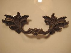 1 Vintage French Provincial Brass Drawer Pull  -  Cabinet Furniture Hardware