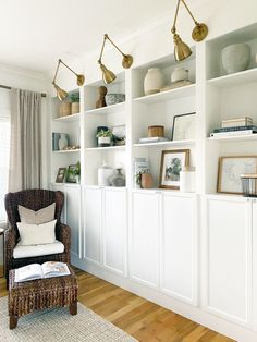 IKEA Billy Bookcase Hack - Wall Of Built-ins - The Sommer Home Billy Ikea Hack, Ikea Billy Bookcase Hack, Bookcase Wall, Ikea Shelves, Bookshelves Built In, Built Ins, Billy Bookcases, Ikea Shelf Hack, Ikea Built In