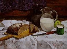 Still Life 2, Food, Bread, Painting Art, Sketches, Dinner, Wine Cellars, Paintings, Flowers