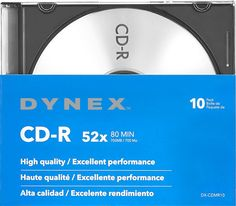 Dynex™ - 10-Pack 52x CD-R Discs with Jewel Cases - Silver, DX-CDMR10