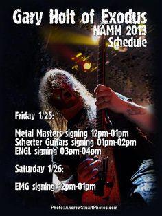 Gary Holt (Exodus) NAMM 2013 Schedule