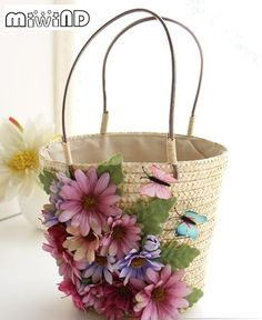 Pink Daisy applique hand-woven bags, new beach trips in the summer flowers tote bags,women lady travel bags