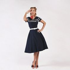 Tatyana Navy Captain Flare Dress – Dollydagger Boutique