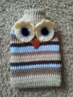 Crochet Cosy Owl Hot Water Bottle Cover by MooMoosMakes on Etsy, £10.00