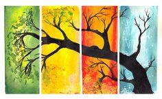 one tree, blending colors, horizontal rectangles
