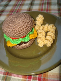 Burger and curly fries.Link for burger on Ravelry.