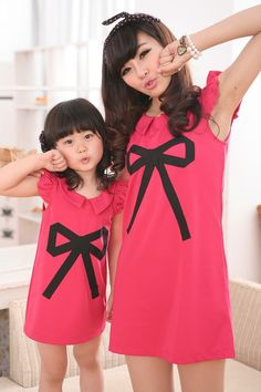 mom and daughter bow dress