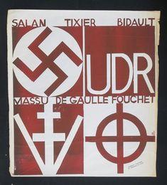 Affiche Mai 68 - UDR DE GAULLE SALAN TIXIER FOUCHET