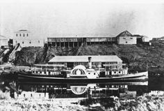 1870 Ipswich - Paddle Steamer docked at wharf. The Shillito family are from Ipswich, before that Sheffield, England.