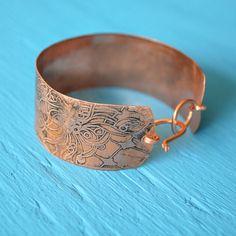 Zentangle Inspired Art Copper Etched Doodle Bracelet OOAK ZIA