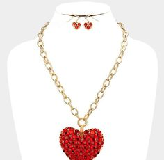"""New 21""""L Red Chunky Crystal Heart Gold Necklace + Earrings #Unbranded"""
