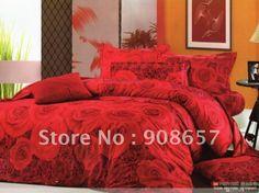 Gratis verzending rode roos bloemen patroon koningin beddengoed sets thuis textiel sprei dekbed