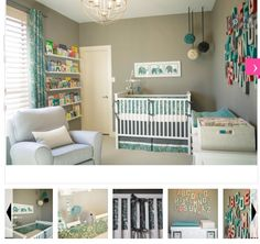 nursery theme ;] love the gray walls!