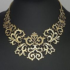 Retro Gothic Hollowed Carve Patterns Fake Collar Golden Necklace For Women Cheap Necklaces, Metal Necklaces, Statement Necklaces, Chunky Necklaces, Jewelry Necklaces, Amarpali Jewellery, Chunky Jewelry, Gold Jewelry, Filigree Jewelry