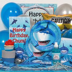 Shark Birthday Party Supplies-Napkins Plates Cups