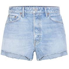 Grlfrnd Cindy High-Rise Jean Shorts (2.572.635 IDR) ❤ liked on Polyvore featuring shorts, bottoms, pants, short, blue, short shorts, high rise shorts, high-waisted jean shorts, blue short shorts and short jean shorts