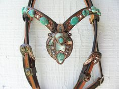 Custom artist pendant with stones, turquoise and opals. Western Horse Tack, Horse Bridle, Cowgirl And Horse, Horse Gear, Appaloosa Horses, Horse Tips, Horse Saddles, Horse Halters, Western Saddles