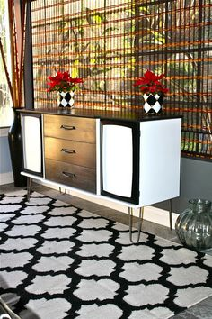 mid century credenza done in a DIY cerused finish on the top and drawer fronts.