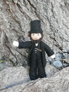"Abraham Lincoln Independence Day 4th of July Doll..In honor of Independence Day, we are welcoming ""Honest Abe"". Sure to bring a smile to any American this 4th of July. He stands at 3 1/4 inches tall."